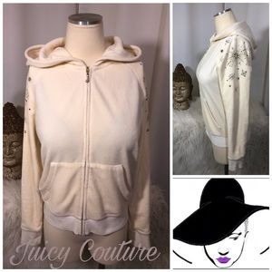 Juicy Couture Cotton Velour Hooded Sequin Jacket